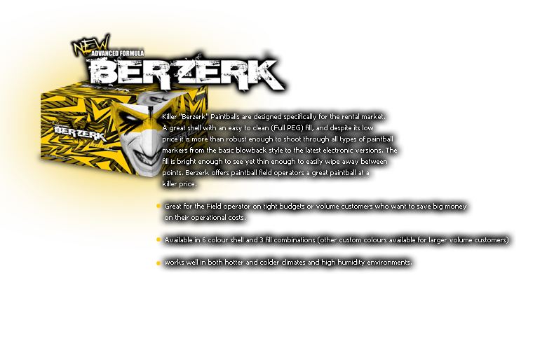 Berzerk™ Field Series Paintballs from Killer Paintballs®